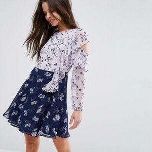 ASOS petite cold shoulder print ruffle mini dress